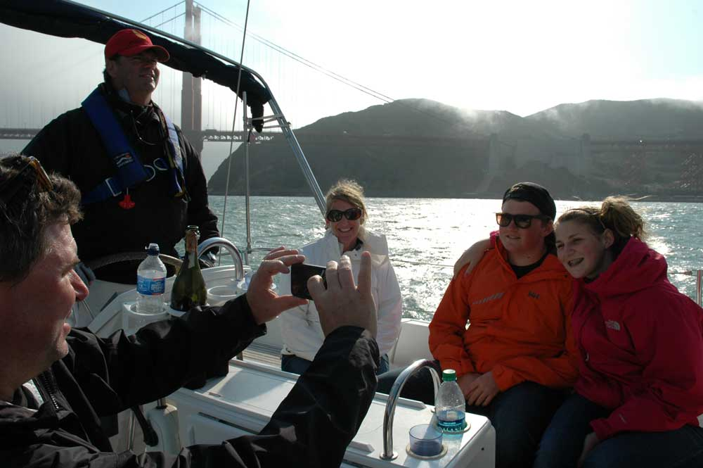 Family Sailing under the Golden Gate Bridge in Comfort and Style with captain san francisco sailing charters!