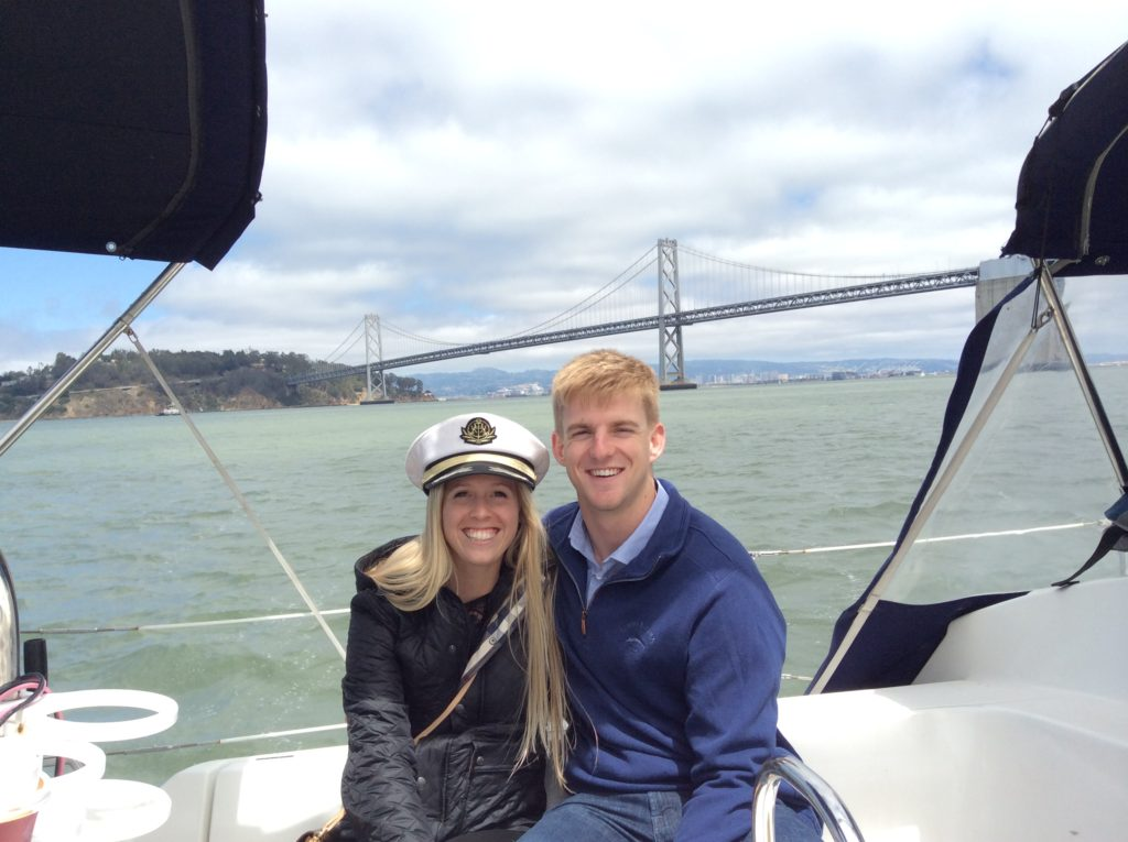 This couple from maryland got engaged onboard while sailing sf bay