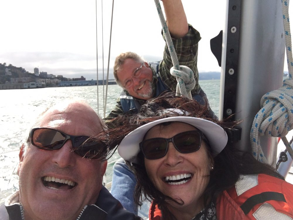 A group of kiwis charter my sailboat in san francisco and got to sail past crissy field the golden gate bridge and around alcatraz we ate salmon, appetizers and had a blast on sf bay.