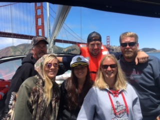 captain Josh waldman took out a group from minnesota today under the golden gate bridge in san francisco bay and we saw whales and dolphins before cruising the yacht past sausalito tiburon alcatraz and the sf pier 39 waterfront