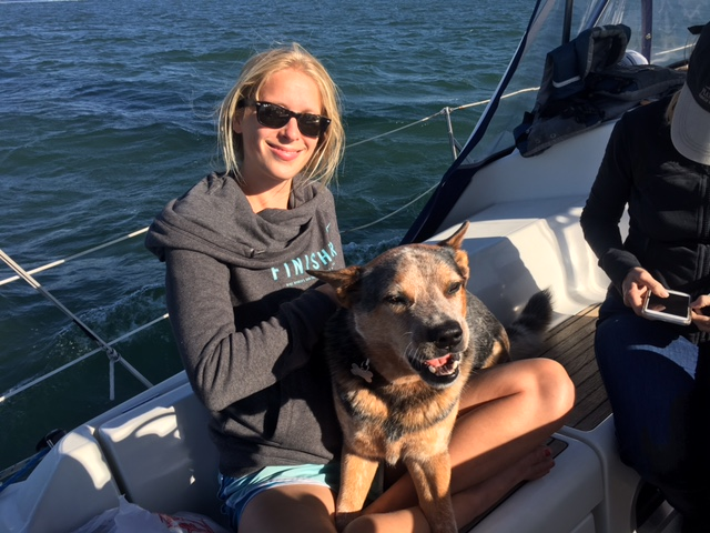 liz on a private sailing charter with captain josh waldman and brody dog